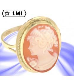 stupendo anello in oro giallo con cameo naturale