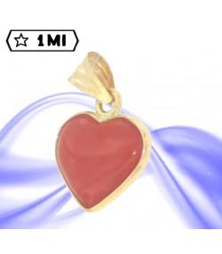 splendido ciondolo in oro giallo e cuore di corallo rosso