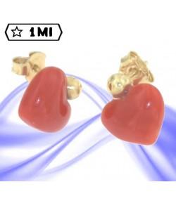 bellissimi orecchini in oro giallo e cuore di corallo rosso