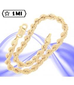 elegante bracciale maglia corda in oro giallo