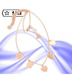 bellissima collana maglia rolò in oro rosa con cinque cuori