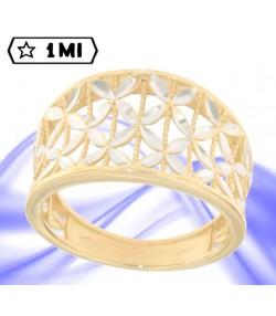 bellissimo anello trafori in oro giallo e fiori in oro bianco
