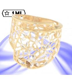 splendido anello in filigrana in oro giallo e fiori in oro bianco