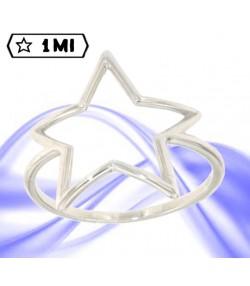 grazioso anello con stella in oro bianco