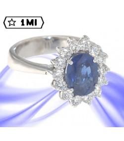 bellissimo anello in oro bianco con zaffiro blu e diamanti