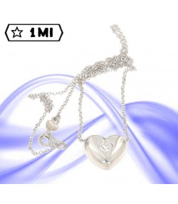 bellissimo punto luce in oro bianco cuore con diamante naturale da  0,26 ct