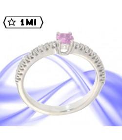 Solitario in oro bianco con zaffiro rosa da 24 punti e pavé 16 punti diamanti