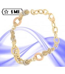 Elegante bracciale maglia groumet in oro giallo e anelli nei tre colori dell'oro