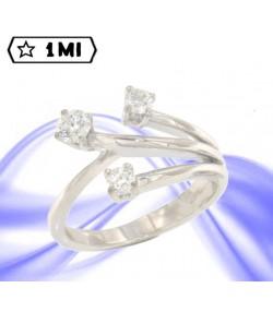 Elegante Trilogy fiore in oro bianco con diamanti  totali 0,53ct