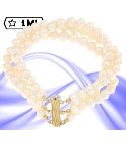 bellissimo bracciale con perle giapponesi di mm 7 chiusura in oro giallo