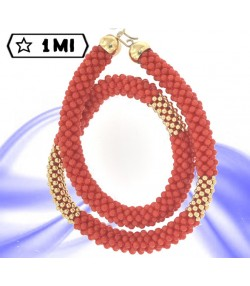 bellissima catena portabile alla schiava opp.come bracciale doppio in corallo rosso e oro giallo