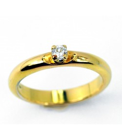 Elegante  Solitario Francesina in oro giallo diamante  da 0,15ct