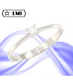 "Raffinato Solitario ""in love""in oro bianco con diamante da 0,14ct"