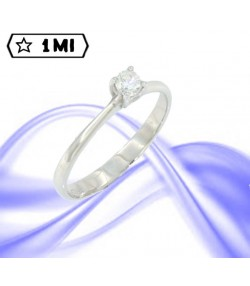 "Elegante Solitario ""in love""in oro bianco con diamante da 0,20ct"